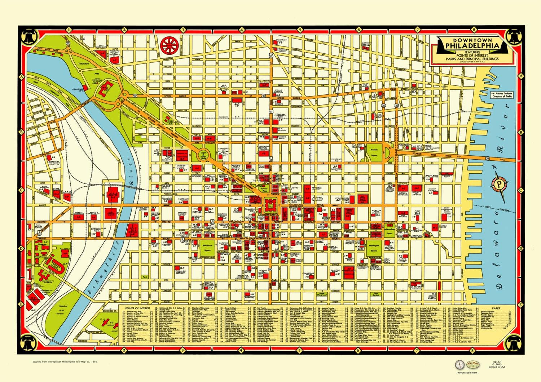 Philadelphia 1950s Map Poster Vintage Downtown Delaware | Etsy on