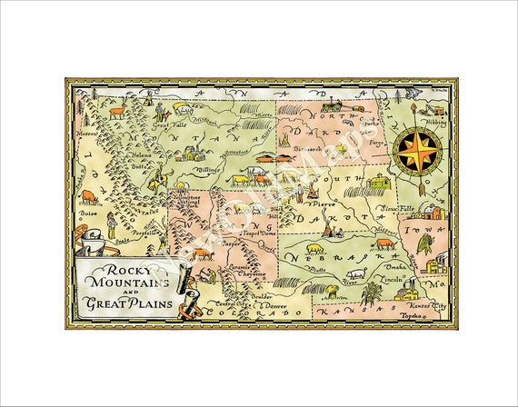 Rocky Mountains Wyoming Map.Great Plains And Rocky Mountains Digital 1940s Vintage Etsy