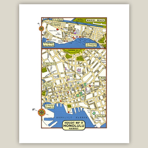 photo regarding Printable Map of Waikiki referred to as Honolulu Hawaii Archival Print Giclee 1950 Basic Map Suppliers Theaters Govt Waikiki Inset Accommodations Pacific Ocean