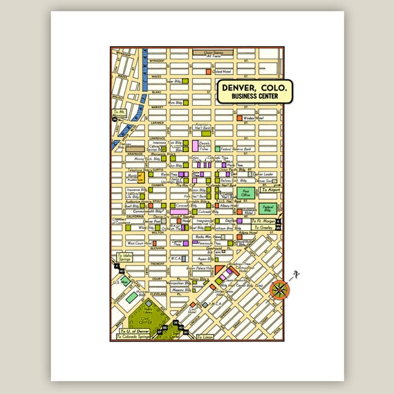 Denver Colorado Archival Print Giclee 1950 Vintage Map Stores Etsy