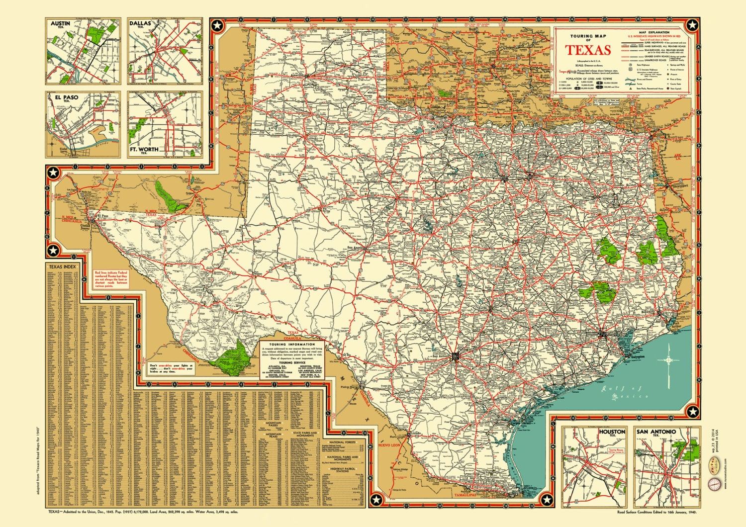Texas Road Map 1940s Map Poster Vintage Dime Box Dallas Fort | Etsy