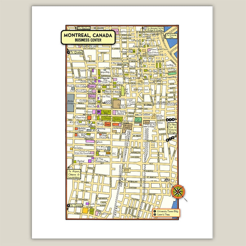 Montreal Quebec Canada Archival Print Giclee 1950 Vintage Map Etsy