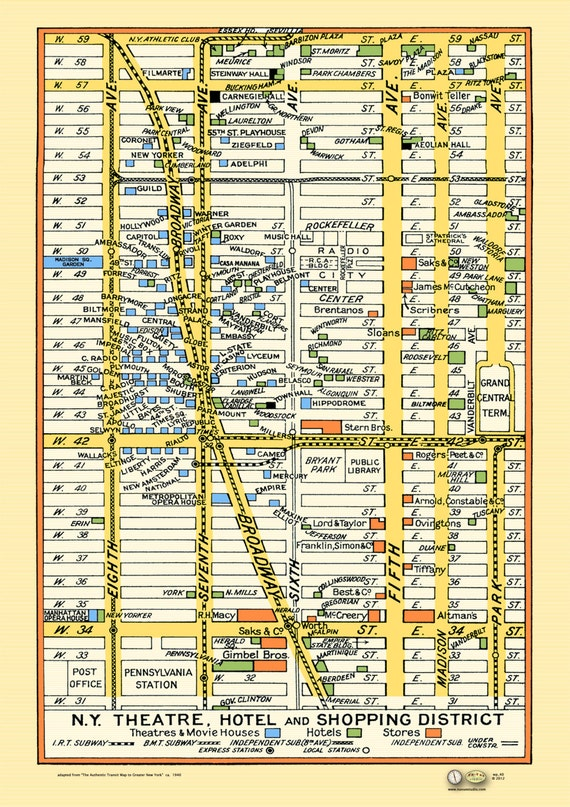 Subway Map Times Square.New York 1940s Map Poster Vintage Midtown Times Square Stores Theaters Hotels Subway Macys Saks Madison Sq Grdn 5th Ave Rockefeller Center