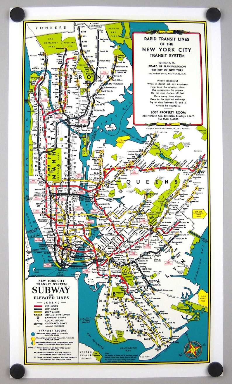Bmt Subway Map.New York Subway Rapid Transit Map Archival Print Giclee 10 X 18 1 2 Inches Manhattan Brooklyn Queens Bronx Ind Irt Bmt Elevated