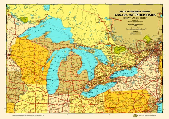 Great Lakes States Provinces 1930 Map Poster Vintage Canada Etsy - Great-lakes-on-the-us-map