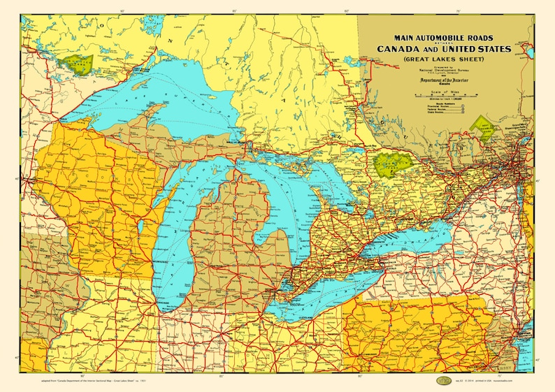 Great Lakes States Provinces 1930 Map Poster Vintage Canada Chicago  Milwaukee Detroit Duluth Buffalo Erie Ontario Superior Michigan Huron