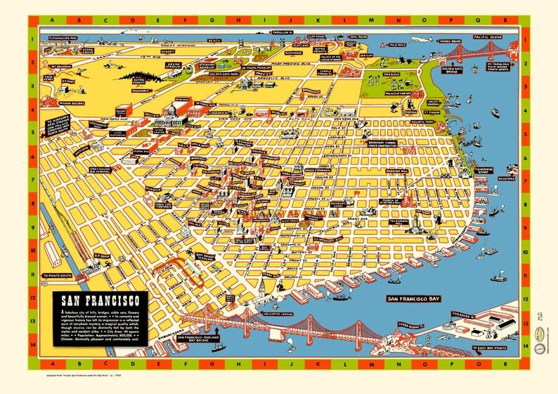 San Francisco Illustrated Map 1940s Poster Vintage Market St Etsy