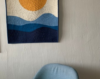 Mid Century Art, View for Miles 1, Mini Wall Quilt, Mid Century Modern