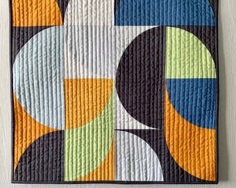 Mid Century Art Round and About 1, Mini Wall Quilt, Mid Century Modern