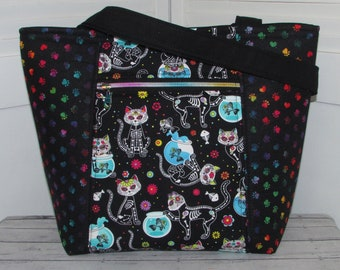Sugar Skull Cats Tote Bag Day of The Dead Cats Tote Bag Gothic Skull Cats Shoulder Bag Ready To Ship