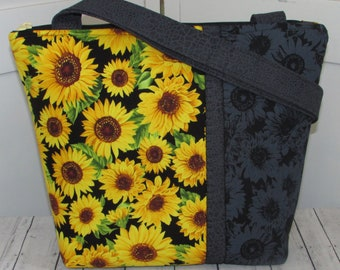 Sunflower Tote Bag Yellow and Black Floral Tote Bag Fall Flowers Shoulder Bag Ready To Ship