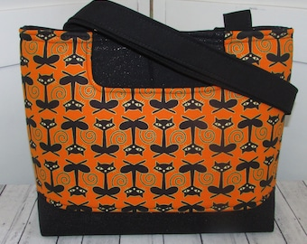 Black Cat Tote Bag Orange and Black Cat Tote Bag Halloween Shoulder Bag Ready To Ship