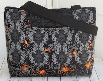 Damask Skull Tote Bag Halloween Skulls and Spiders Tote Bag Black and Orange Shoulder Bag Ready To Ship