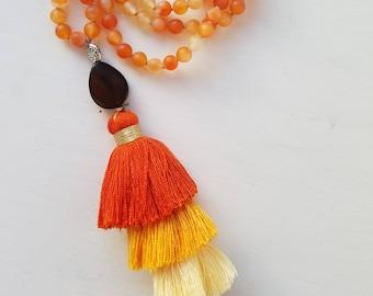 Carnelian Mala | Meditation Beads | Mala Necklace | Mala | 108 Beads | Japa Mala| Gemstone Mala Necklace