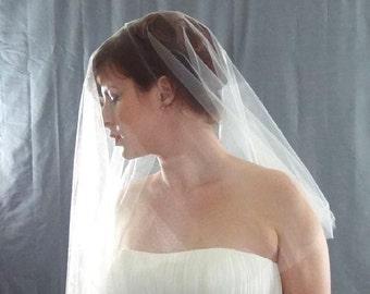 Soft Wedding Veil in Shimmer Diamond White, Drop Veil Style, Cut Edge