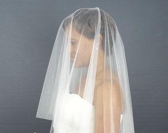White Soft Tulle Circular Wedding Veil with Cut Edge, Waist Length