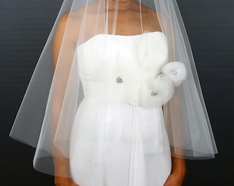 Couture Wedding Veil with Tulle Flowers, Rhinestone Ornaments, Drop Veil with Cut Edge - Water Lilies