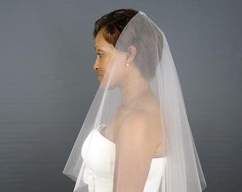 Blush Wedding Veil, Angel Cut Veil, Blush Fingertip Veil, Cut Edge Bridal Veil