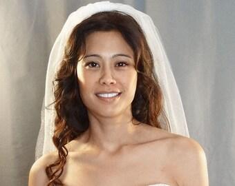 Soft Diamond White Shimmer Wedding Veil, Fingertip Length, Cut Edge