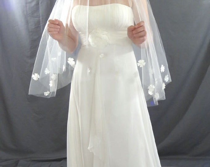 Featured listing image: Wedding Veil, Drop Veil with Pearl Flower Detail, Waist Length Veil, Circular Bridal Veil
