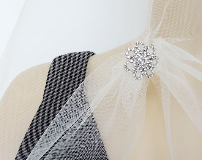 Featured listing image: Drop Wedding Veil with Rhinestone Ornament, Elegant Bridal Veil