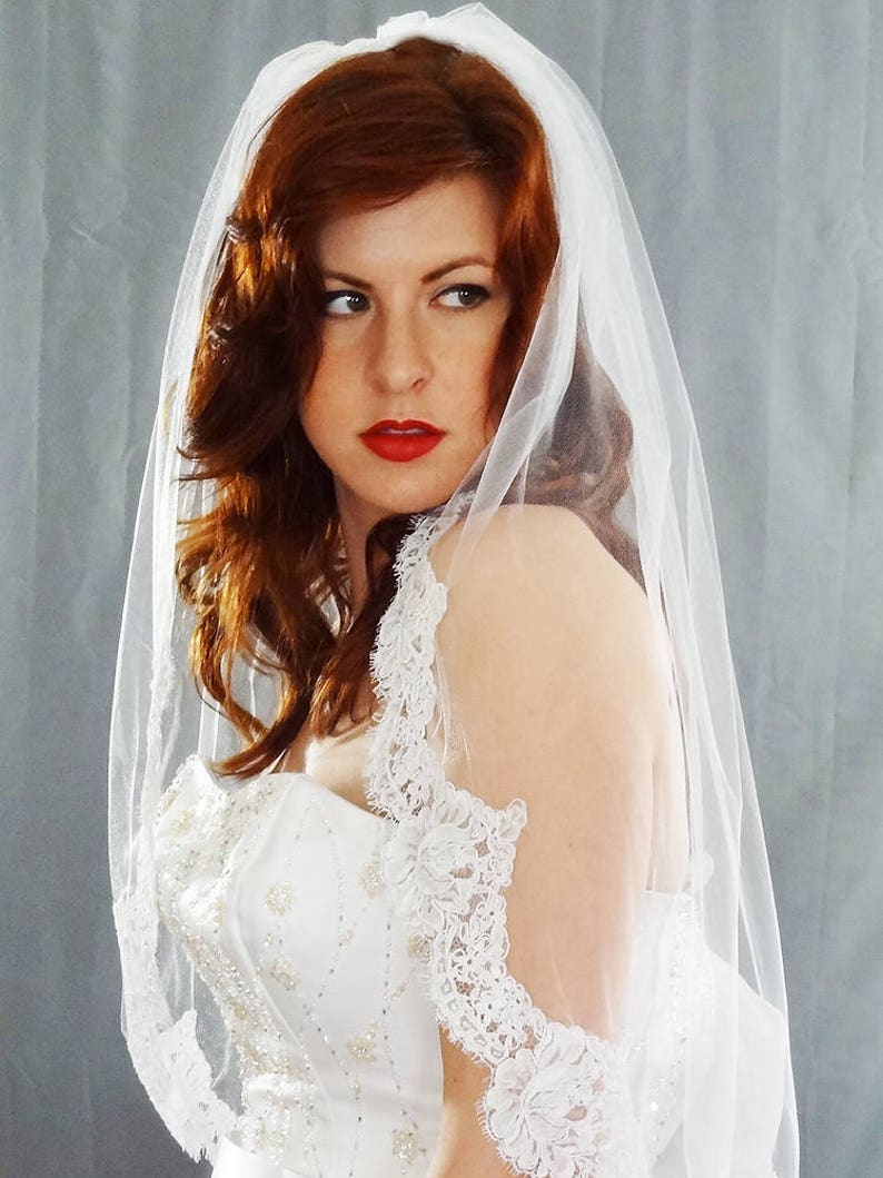 Lace Wedding Veil with French Alencon Lace Elbow Length image 0
