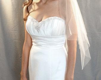 Wedding Veil in Handkerchief Veil Style with Swarovski Crystal Teardrops