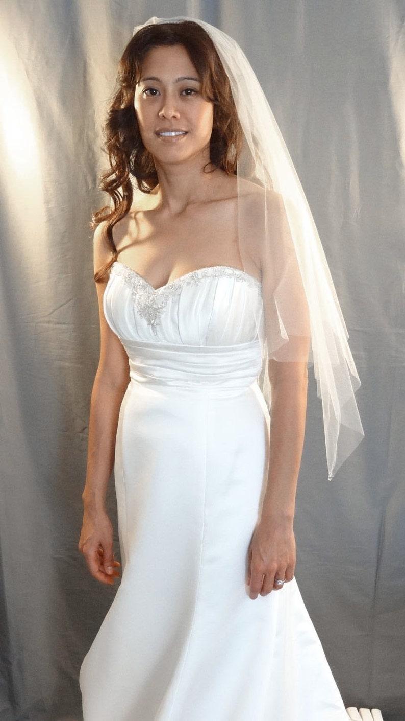 Wedding Veil in Handkerchief Veil Style with Swarovski Crystal image 0
