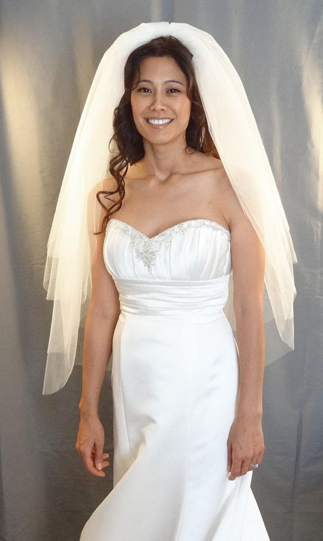 Wedding Veil with 4 Layered Tiers Full Bridal Veil Cut Edge image 0