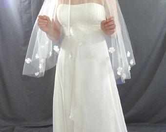Wedding Veil, Drop Veil with Pearl Flower Detail, Waist Length Veil, Circular Bridal Veil
