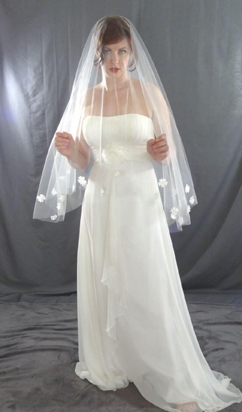 Wedding Veil Drop Veil with Pearl Flower Detail Waist Length image 0