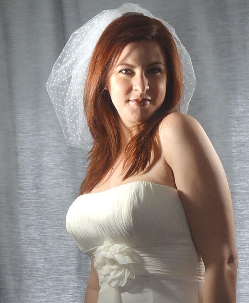 Swiss Dot Mini Bubble Veil Wedding Veil Short Bridal Veil image 0