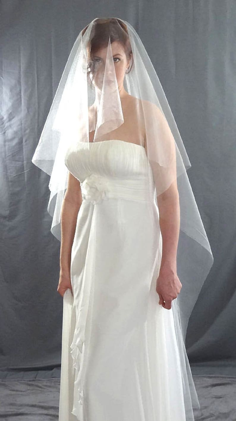 Cascade Drop Veil Wedding Veil Floor Length Bridal Veil image 0