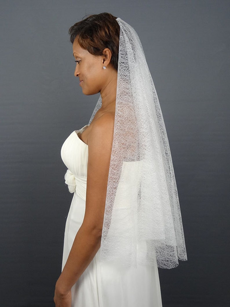 White Drop Veil in Modern Mesh Tulle with Cut Edge Elbow image 0