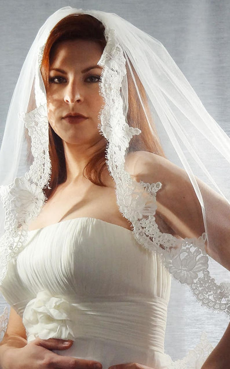 Lace Wedding Veil with Alencon Lace Scalloped Trim Floral image 0