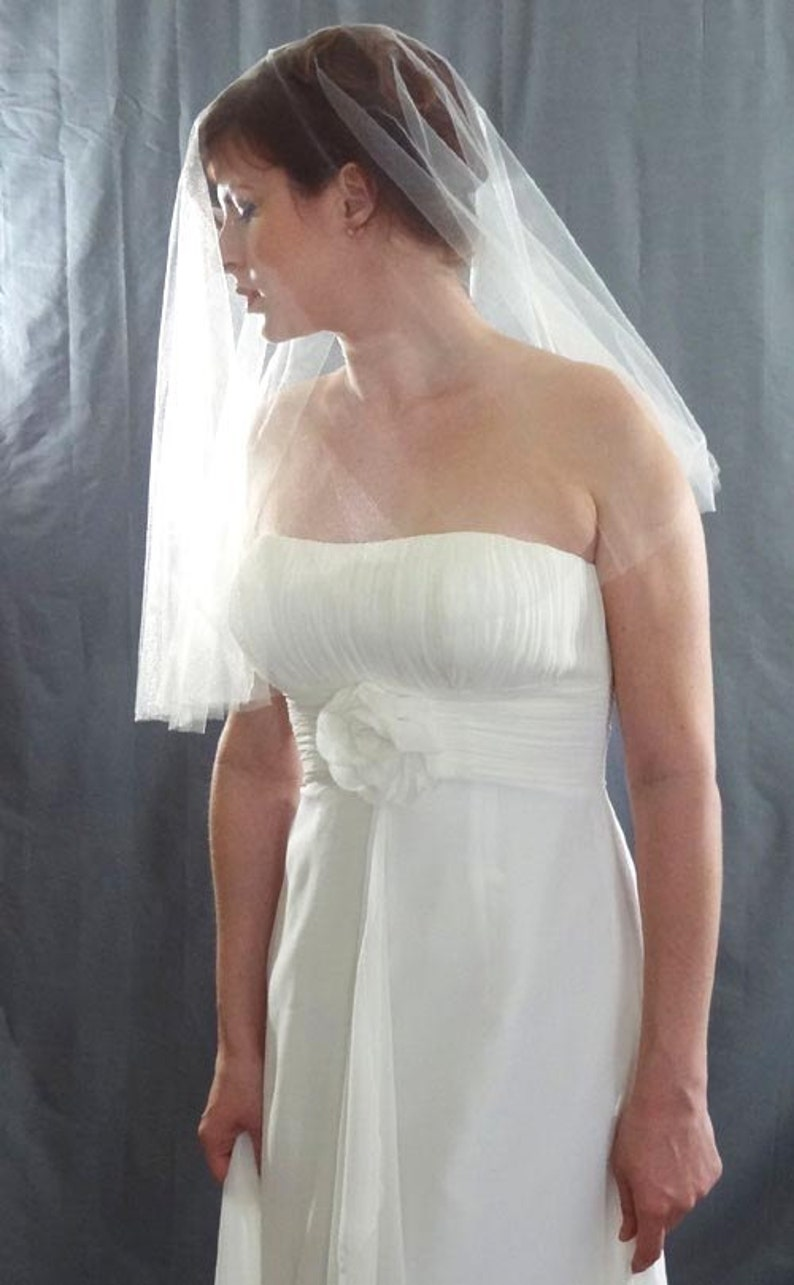 Soft Wedding Veil in Shimmer Diamond White Drop Veil Style image 0
