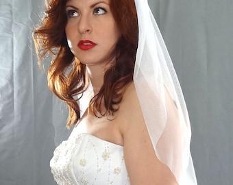 English Net Tulle Veil, Soft Wedding Veil with Plain Cut Edge, Simple Ivory Bridal Veil