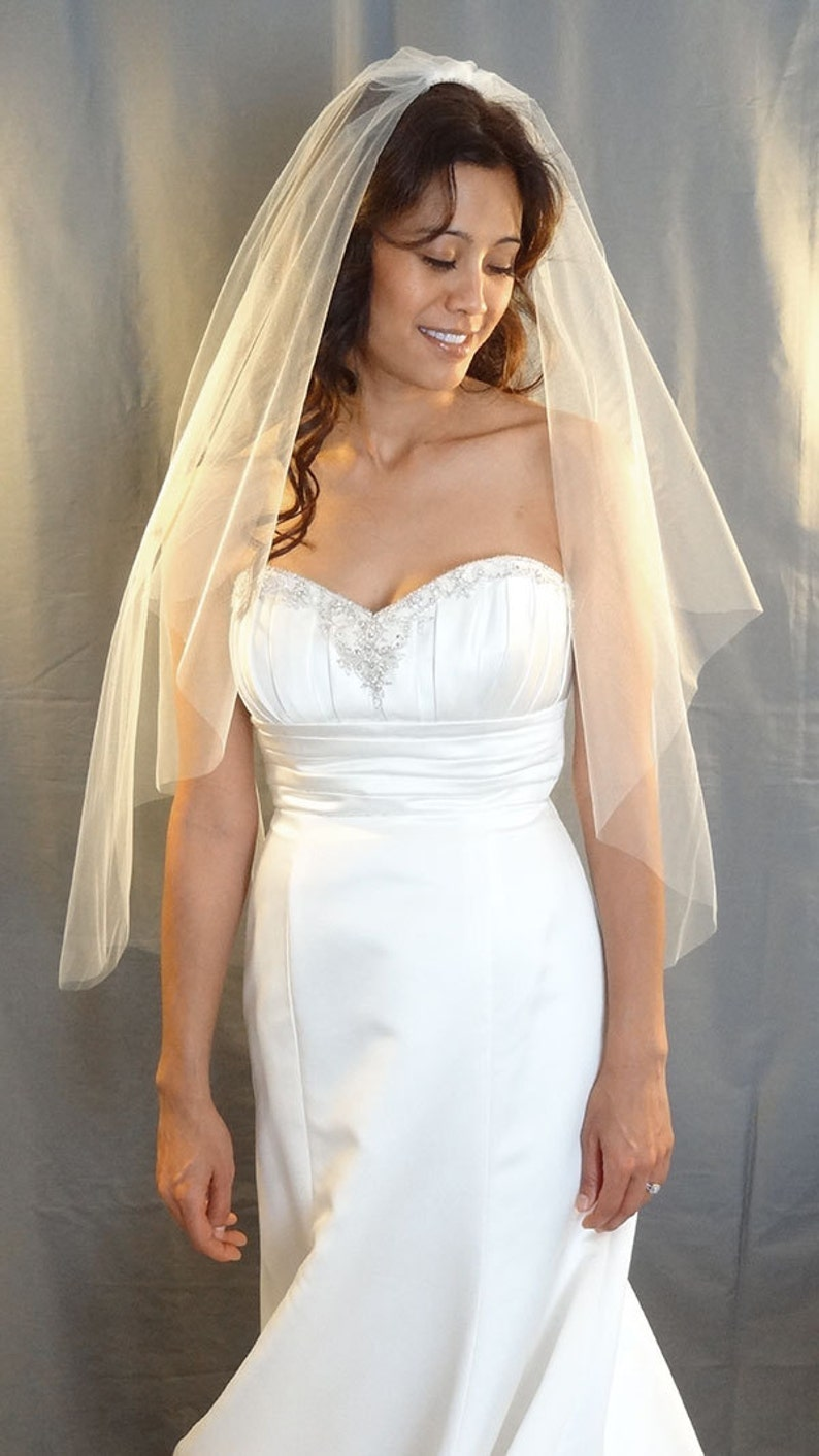 Wedding Veil in Cascade Cut Style with Cut Edge Fingertip image 0