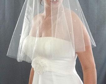 Wedding Veil, Drop Veil Style with Cascading Rhinestones from Top, Cut Edge Bridal Veil