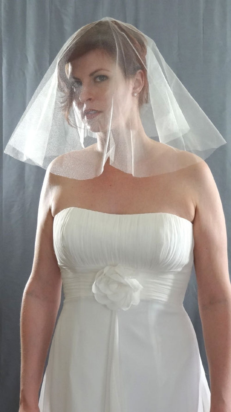 English Silk Tulle Wedding Veil with Cut Edge Crisp Feel image 0