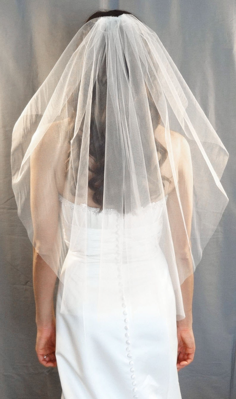 Angel Cut Veil with Cut Edge Wedding Veil Style Fingertip image 0