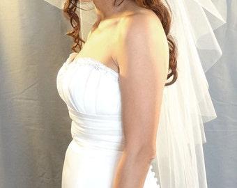 Wedding Veil in Butterfly Cut Style, Fingertip Bridal Veil, Cut Edge