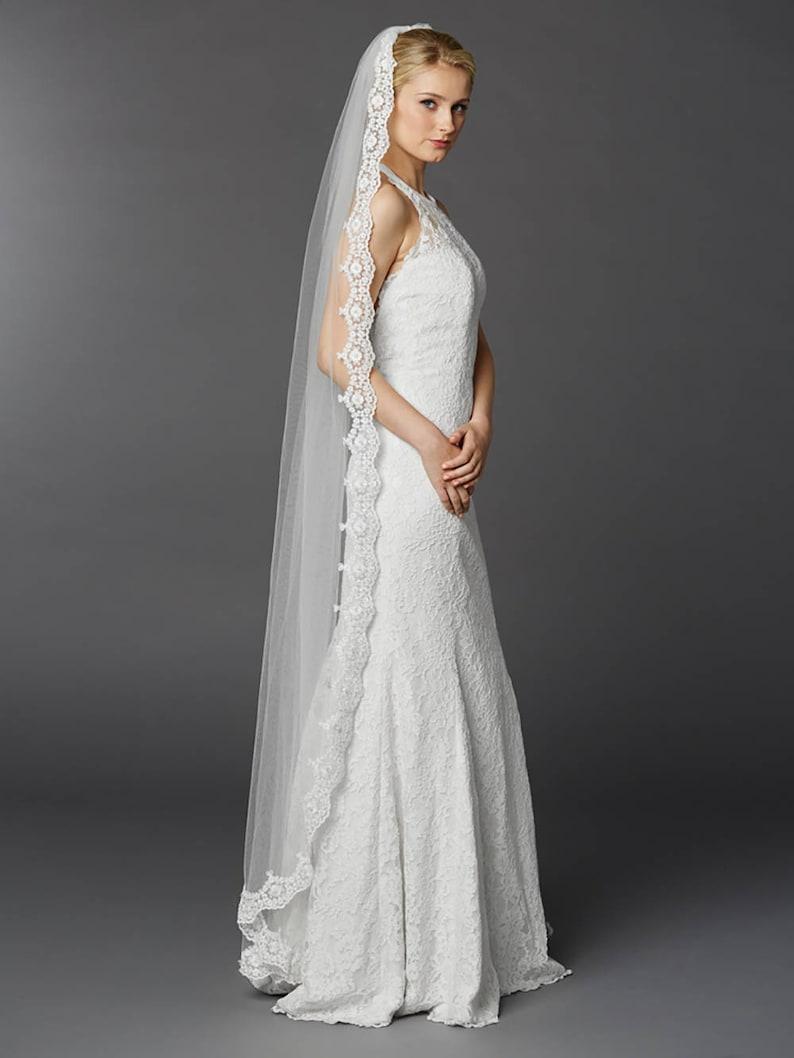 Wedding Veil Floor Length Lace Edge Bridal Veil Boho Veil image 0