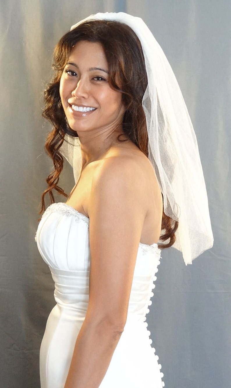 Soft Wedding Veil with Cut Edge in Diamond White Shimmer image 0