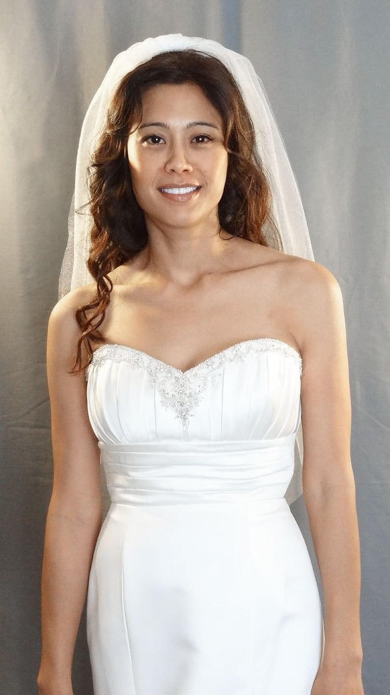 Soft Diamond White Shimmer Wedding Veil Fingertip Length Cut image 0