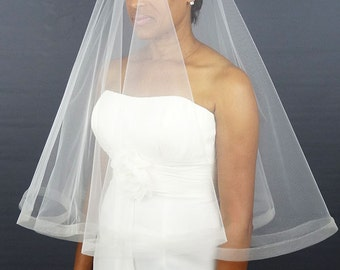 "Wedding Drop Veil with 1"" Horsehair Trim, Modern Bridal Veil with 1/2"" Horsehair Ribbon Edge"