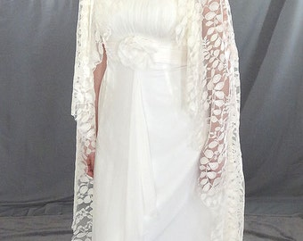 """Lace Mantilla Veil with Embroidered Lace in Leaf Pattern, Allover Lace Bridal Veil - """"Autumn Leaves"""""""