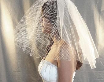 Birdcage Wedding Veil, Net and Tulle Bridal Blusher, 3 Layer Short Veil