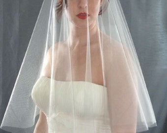 Silver Drop Wedding Veil with Plain Cut Edge, Bridal Veil in Custom Lengths