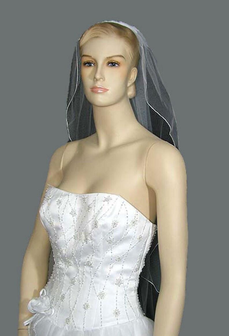 Narrow Angel Cut Wedding Veil Minimalistic Modern Bridal Veil image 0